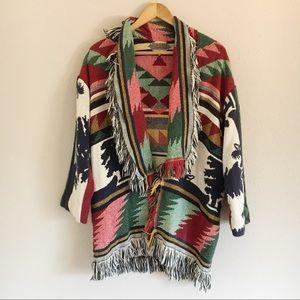 Tribal Aztec Colored Knit Fringe Blanket Sweater